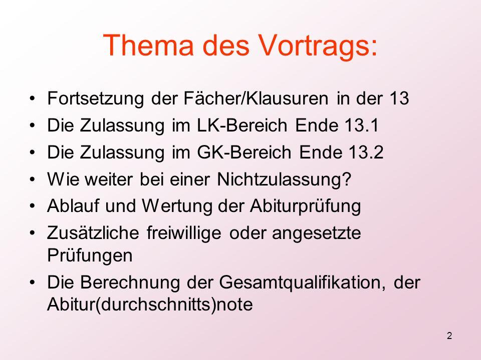 Thema des Vortrags: Fortsetzung der Fächer/Klausuren in der 13