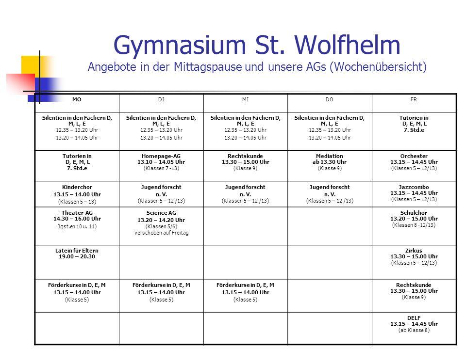 Gymnasium St. Wolfhelm Angebote in der Mittagspause und unsere AGs (Wochenübersicht)