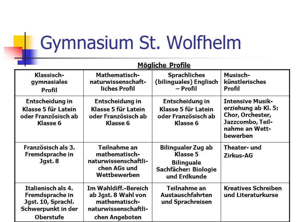 Gymnasium St. Wolfhelm Mögliche Profile Klassisch-gymnasiales Profil