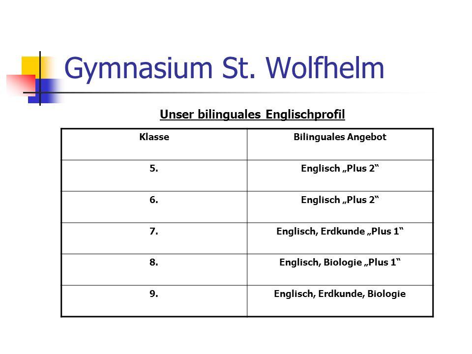 Gymnasium St. Wolfhelm Unser bilinguales Englischprofil Klasse