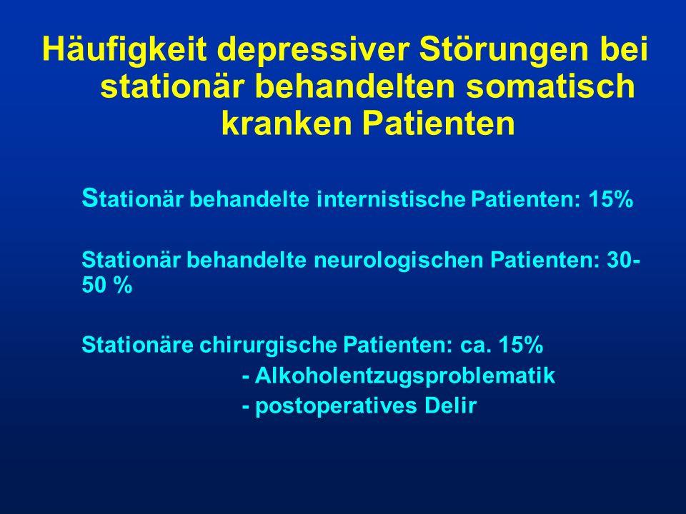 Häufigkeit depressiver Störungen bei stationär behandelten somatisch kranken Patienten
