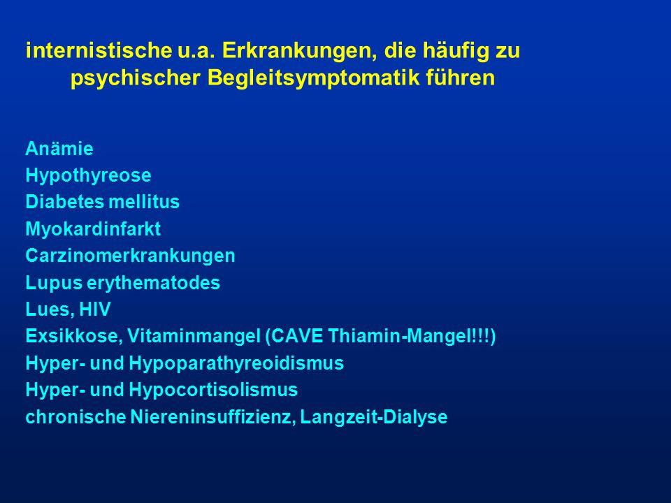 internistische u.a. Erkrankungen, die häufig zu psychischer Begleitsymptomatik führen
