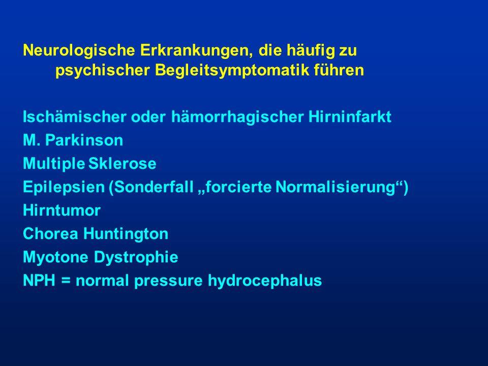 Neurologische Erkrankungen, die häufig zu psychischer Begleitsymptomatik führen