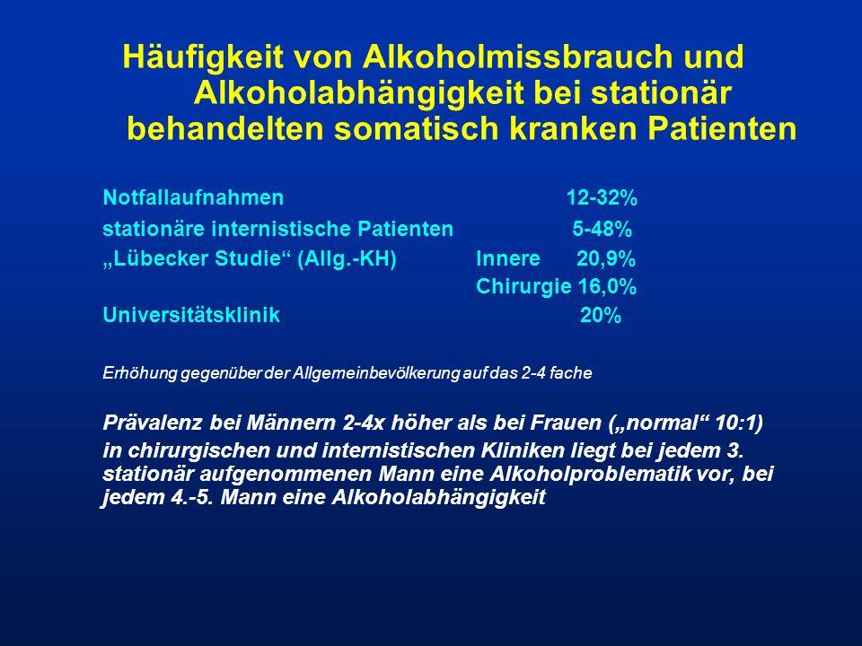 Häufigkeit von Alkoholmissbrauch und Alkoholabhängigkeit bei stationär behandelten somatisch kranken Patienten