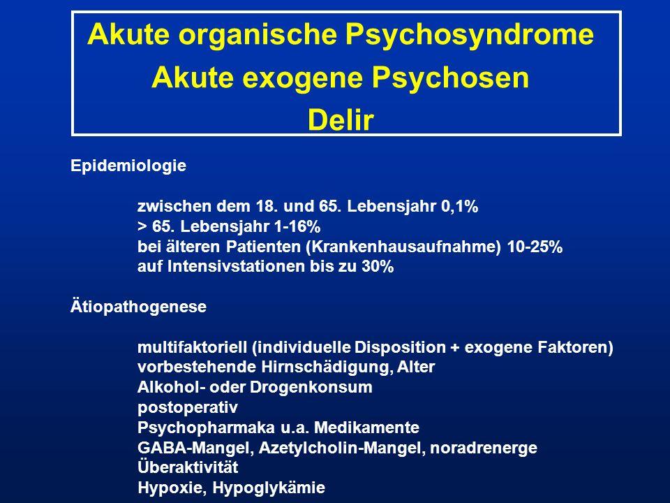 Akute organische Psychosyndrome Akute exogene Psychosen Delir