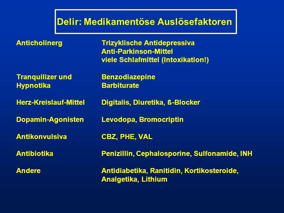 Delir: Medikamentöse Auslösefaktoren