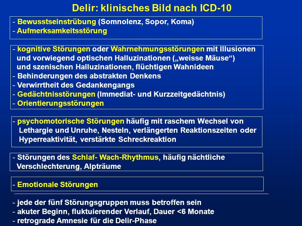 Delir: klinisches Bild nach ICD-10