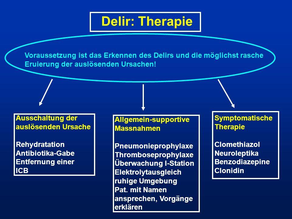 Delir: Therapie Voraussetzung ist das Erkennen des Delirs und die möglichst rasche Eruierung der auslösenden Ursachen!