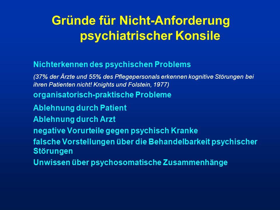 Gründe für Nicht-Anforderung psychiatrischer Konsile