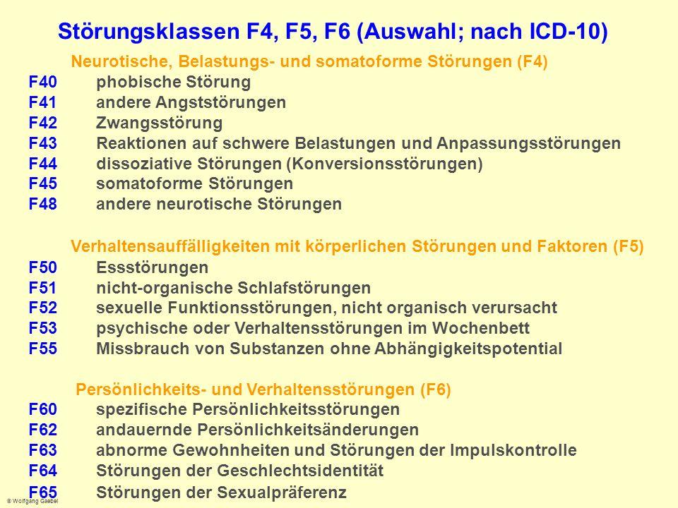 Störungsklassen F4, F5, F6 (Auswahl; nach ICD-10)