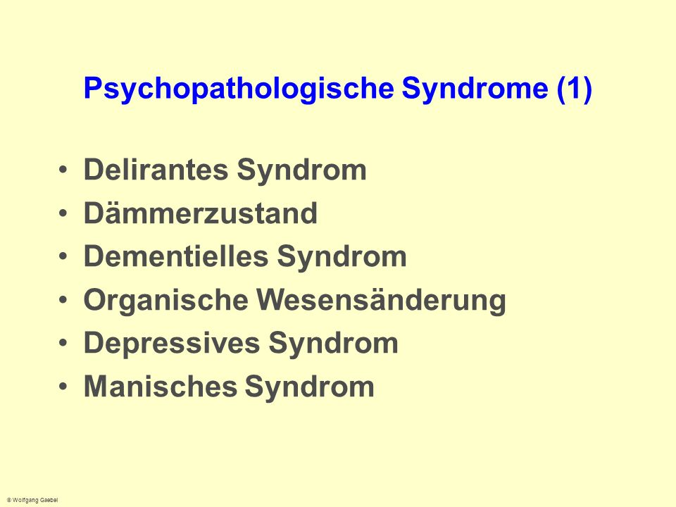 Psychopathologische Syndrome (1)