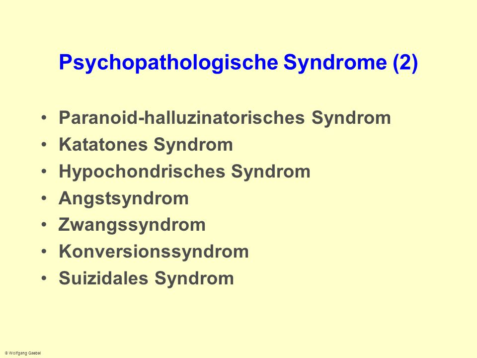 Psychopathologische Syndrome (2)