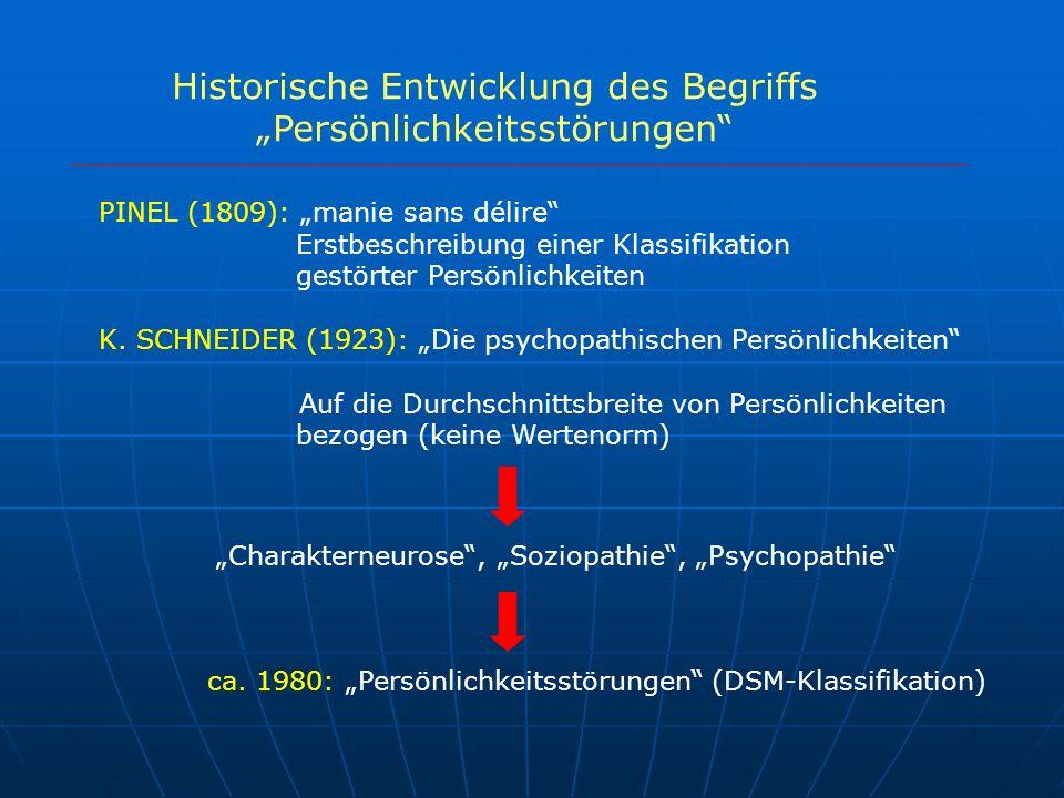 """Historische Entwicklung des Begriffs """"Persönlichkeitsstörungen"""
