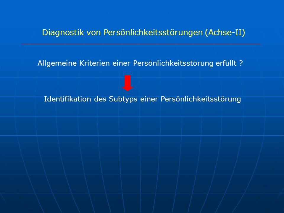 Diagnostik von Persönlichkeitsstörungen (Achse-II)