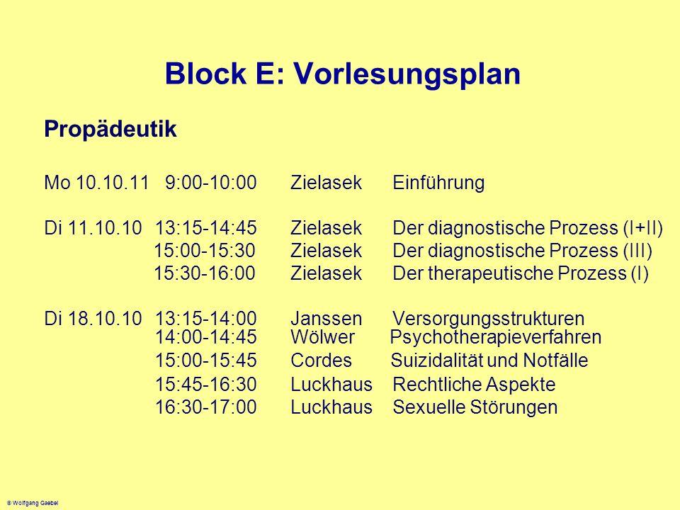 Block E: Vorlesungsplan