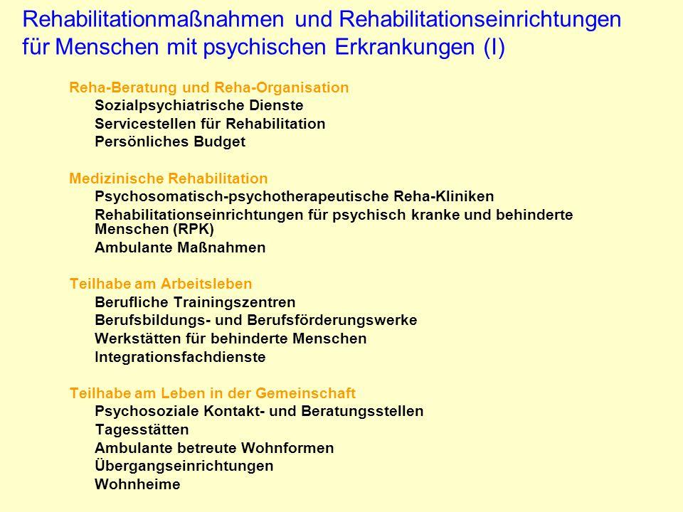 Rehabilitationmaßnahmen und Rehabilitationseinrichtungen für Menschen mit psychischen Erkrankungen (I)