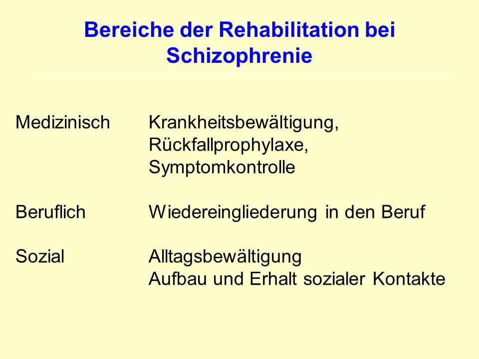 Bereiche der Rehabilitation bei Schizophrenie