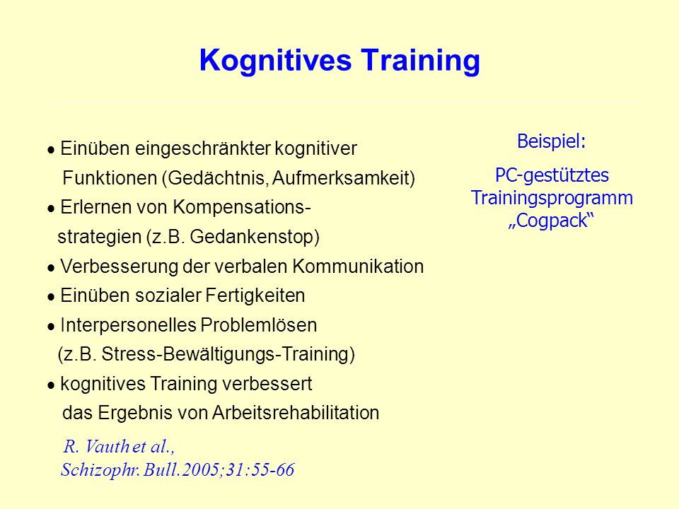 "PC-gestütztes Trainingsprogramm ""Cogpack"