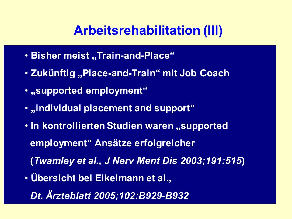 Arbeitsrehabilitation (III)
