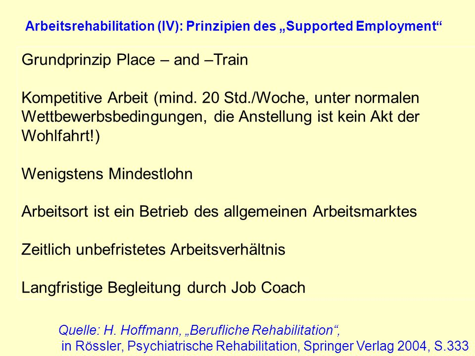 "Arbeitsrehabilitation (IV): Prinzipien des ""Supported Employment"