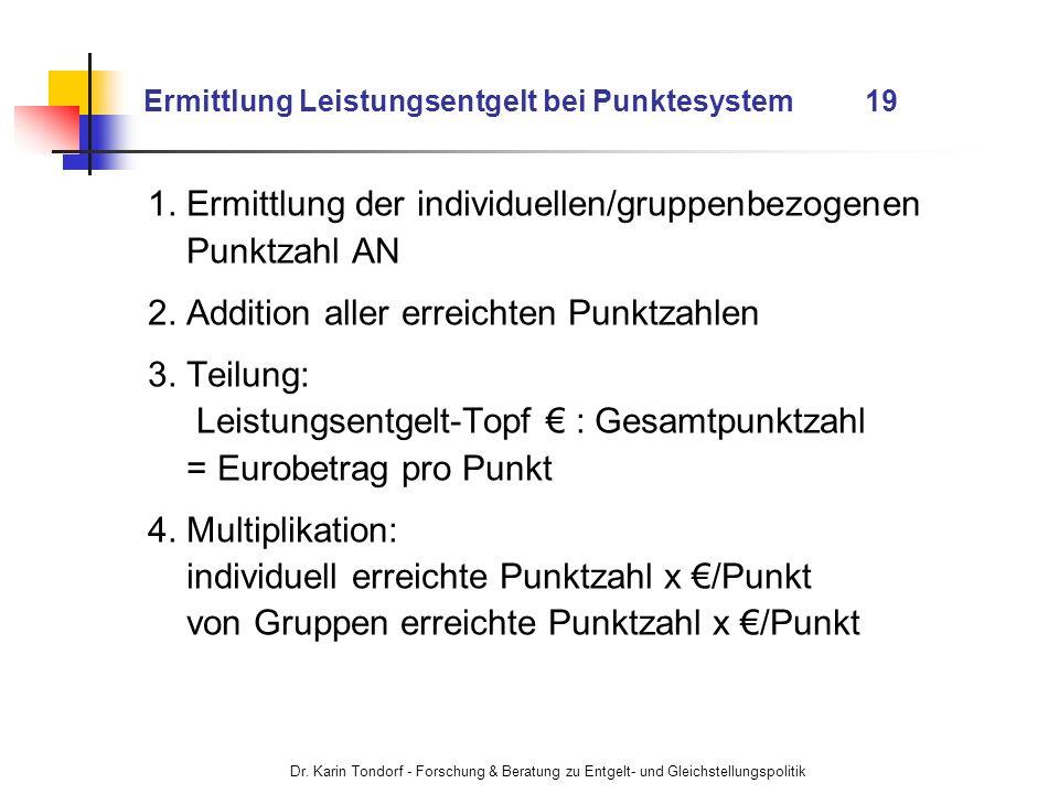 Ermittlung Leistungsentgelt bei Punktesystem 19