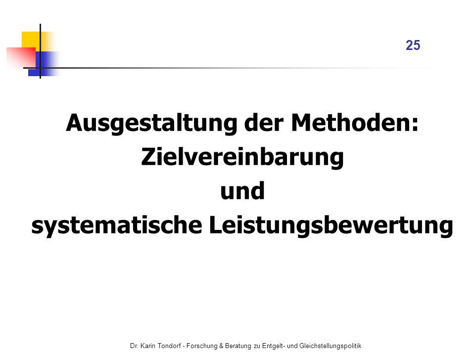 Ausgestaltung der Methoden: systematische Leistungsbewertung