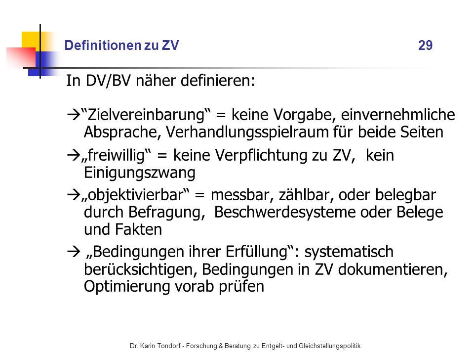 In DV/BV näher definieren: