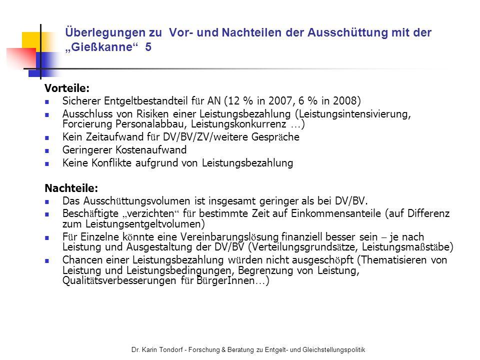 """Überlegungen zu Vor- und Nachteilen der Ausschüttung mit der """"Gießkanne 5"""