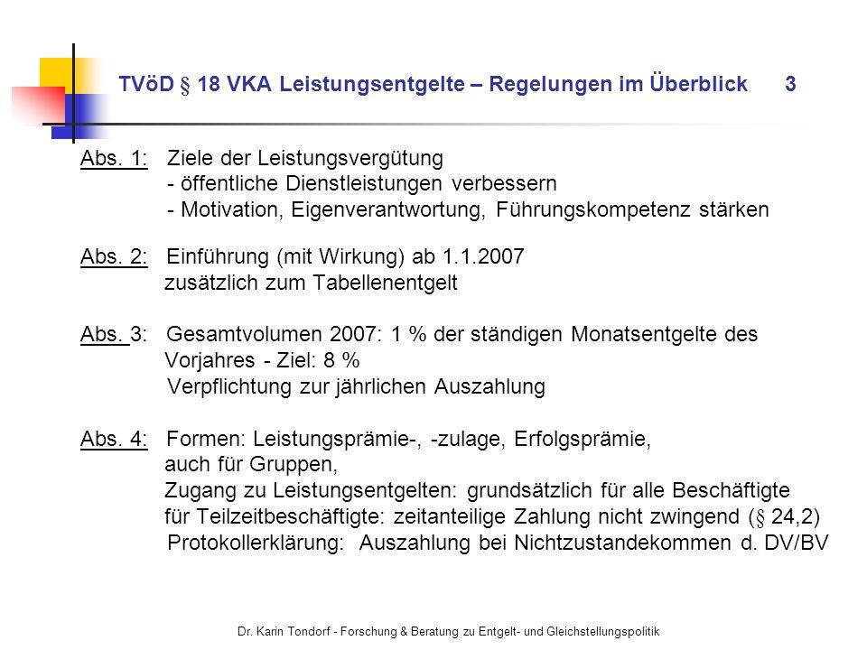 TVöD § 18 VKA Leistungsentgelte – Regelungen im Überblick 3