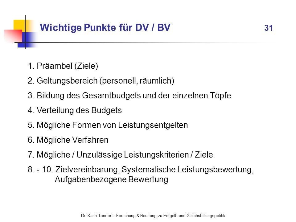 Wichtige Punkte für DV / BV 31