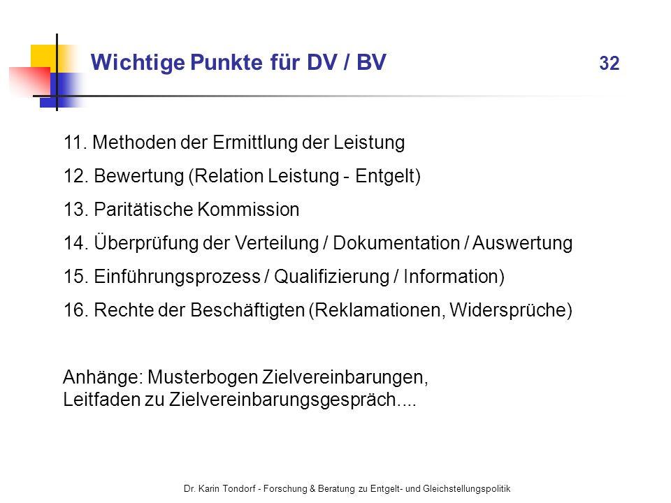 Wichtige Punkte für DV / BV 32