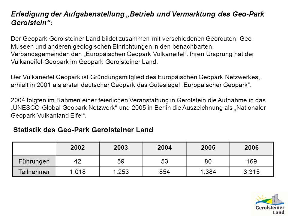 """Erledigung der Aufgabenstellung """"Betrieb und Vermarktung des Geo-Park"""