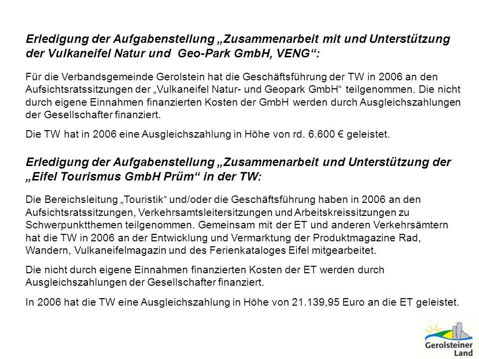 """Erledigung der Aufgabenstellung """"Zusammenarbeit mit und Unterstützung der Vulkaneifel Natur und Geo-Park GmbH, VENG :"""