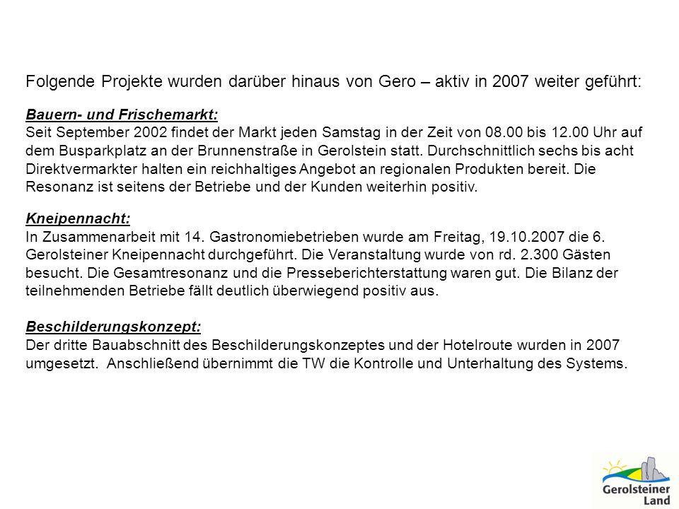Folgende Projekte wurden darüber hinaus von Gero – aktiv in 2007 weiter geführt: