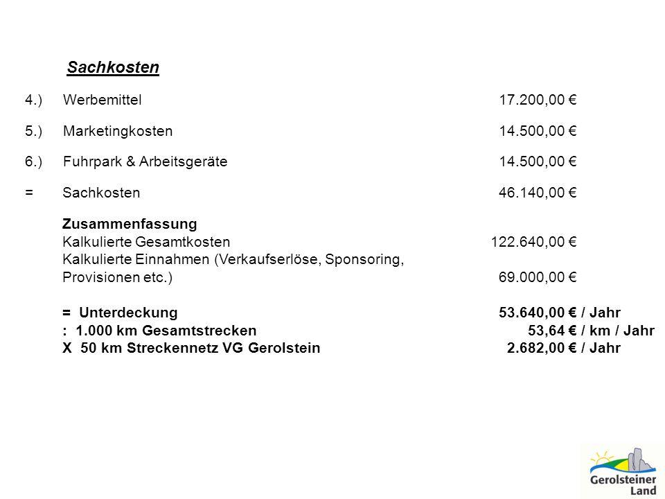 Sachkosten 4.) Werbemittel 17.200,00 € 5.) Marketingkosten 14.500,00 €