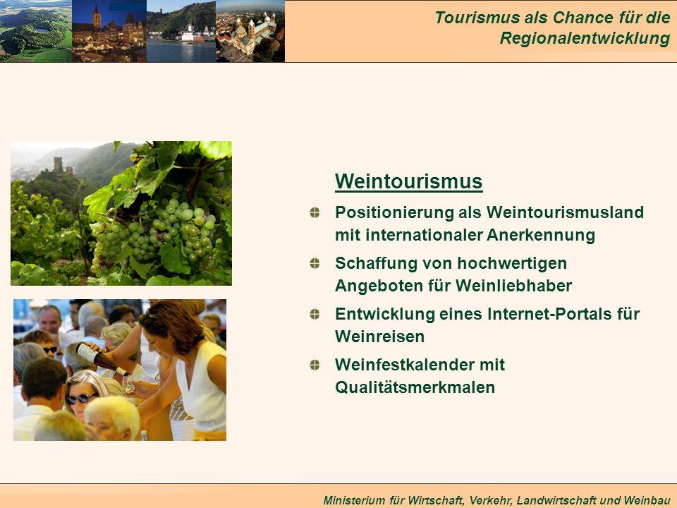 Weintourismus Positionierung als Weintourismusland mit internationaler Anerkennung. Schaffung von hochwertigen Angeboten für Weinliebhaber.