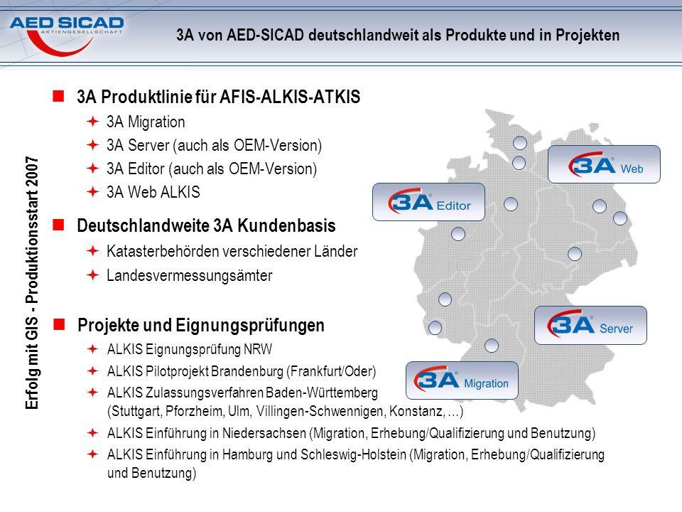 3A von AED-SICAD deutschlandweit als Produkte und in Projekten