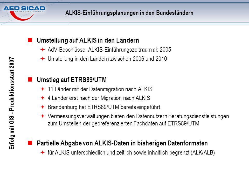 ALKIS-Einführungsplanungen in den Bundesländern