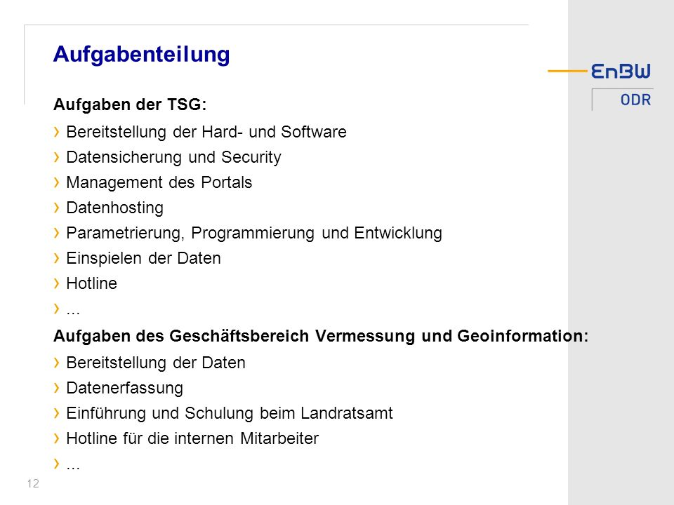 Aufgabenteilung Aufgaben der TSG: