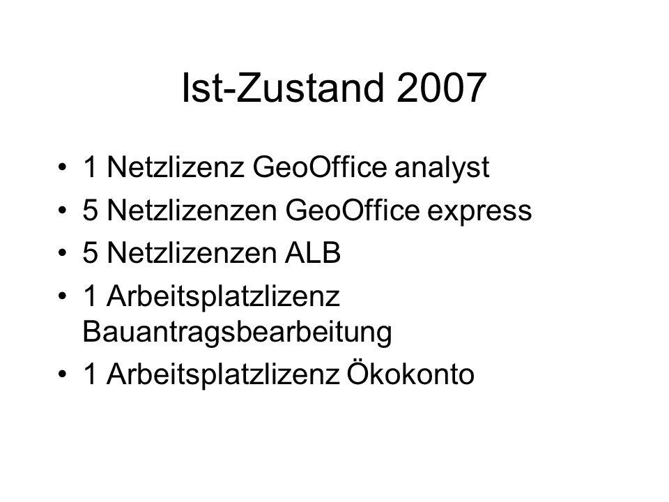 Ist-Zustand 2007 1 Netzlizenz GeoOffice analyst