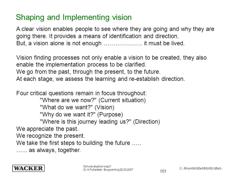 Shaping and Implementing vision