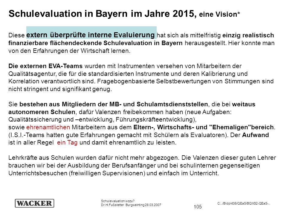 Schulevaluation in Bayern im Jahre 2015, eine Vision*