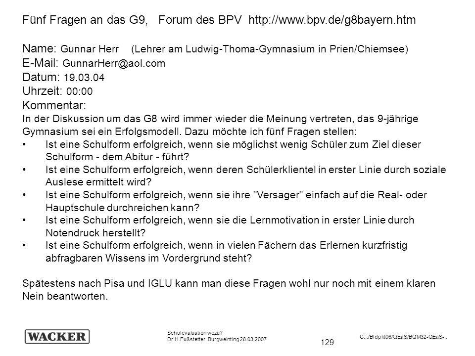 Fünf Fragen an das G9, Forum des BPV http://www.bpv.de/g8bayern.htm