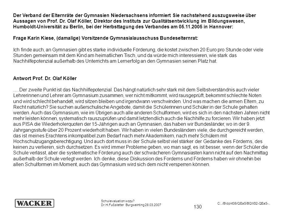 Antwort Prof. Dr. Olaf Köller