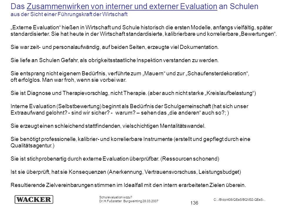 Das Zusammenwirken von interner und externer Evaluation an Schulen