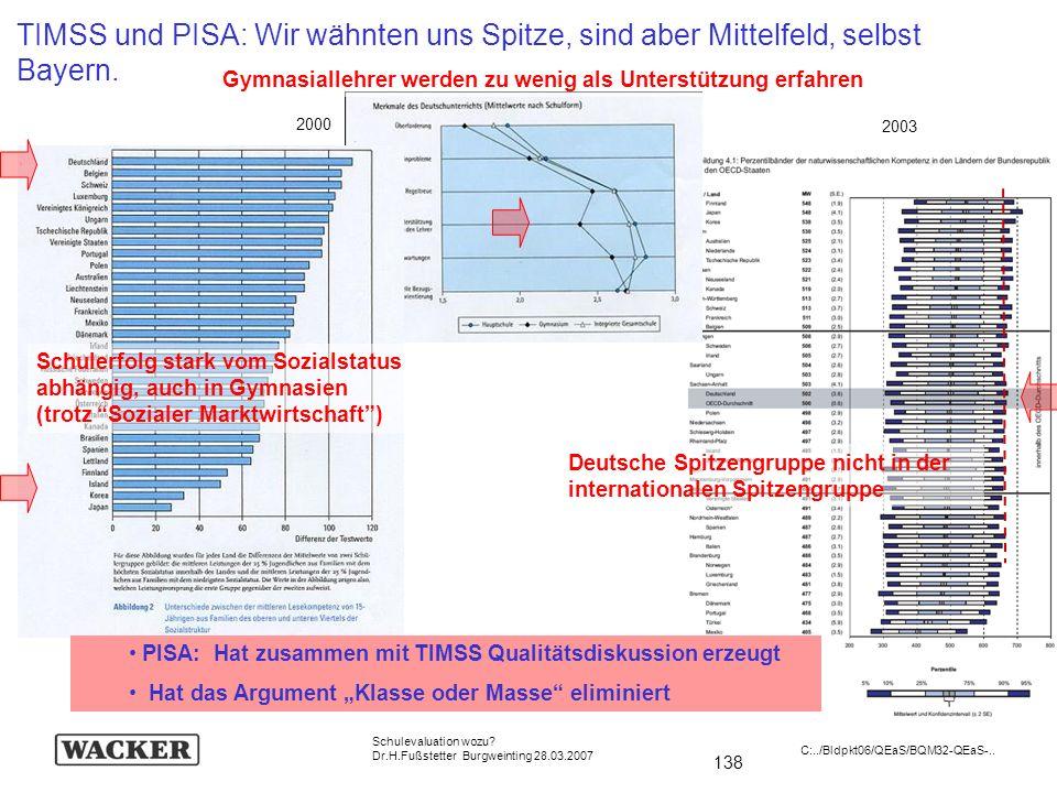 TIMSS und PISA: Wir wähnten uns Spitze, sind aber Mittelfeld, selbst Bayern.