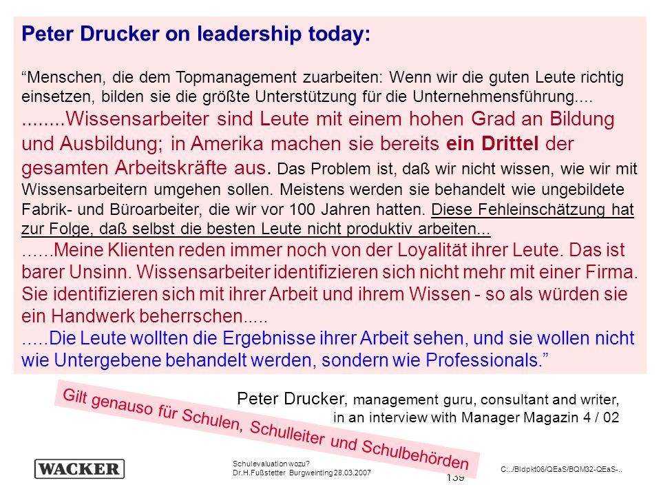 Peter Drucker on leadership today: