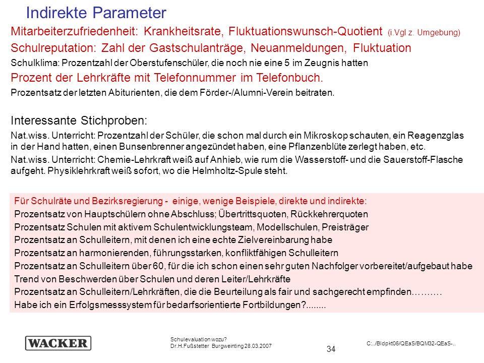 Indirekte ParameterMitarbeiterzufriedenheit: Krankheitsrate, Fluktuationswunsch-Quotient (i.Vgl z. Umgebung)