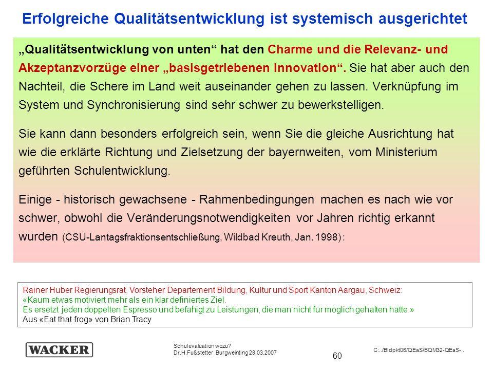 Erfolgreiche Qualitätsentwicklung ist systemisch ausgerichtet