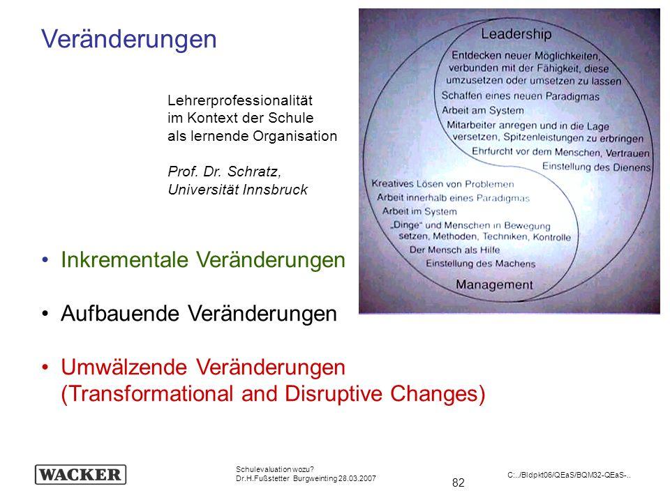 Veränderungen Inkrementale Veränderungen Aufbauende Veränderungen